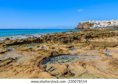 Fishing village Morro Jable on southern coast of Fuerteventura, Canary Islands, Spain