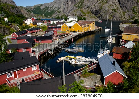 Fishing village museum on the islands Norway - stock photo