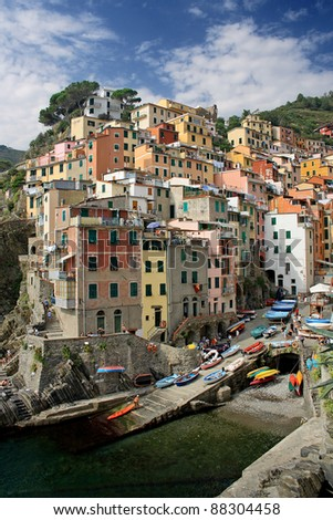 Fishing village of Riomaggiore, Liguria, Italy.