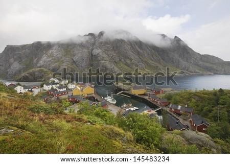 Fishing village on the Lofoten Islands Norway - stock photo
