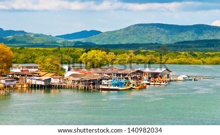 Fishing village. Phuket Thailand - stock photo
