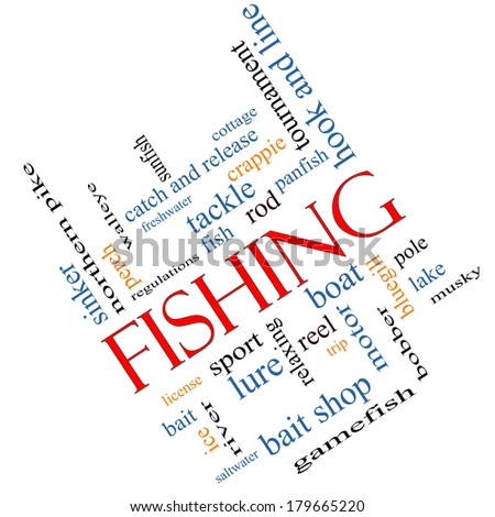 Fishing Word Cloud Concept angled with great terms such as bobber, lure, pole and more. - stock photo