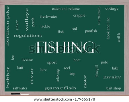 Fishing Word Cloud Concept on a Blackboard with great terms such as bobber, lure, pole and more. - stock photo