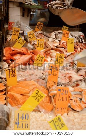 Fishmarket in Chinatown, New York City - stock photo