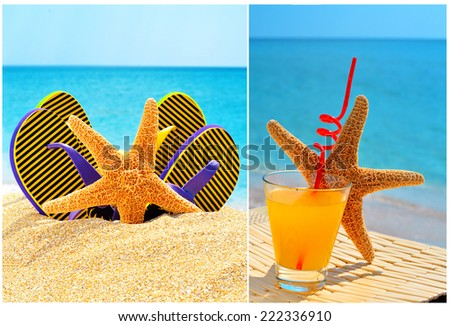 Fishstar, glass of orange cocktail against the blue sea. Collage - stock photo