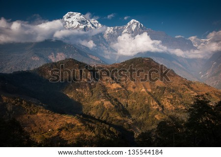 Fishtail peak and Annapura South with light and shadow. use for promote tourism - stock photo