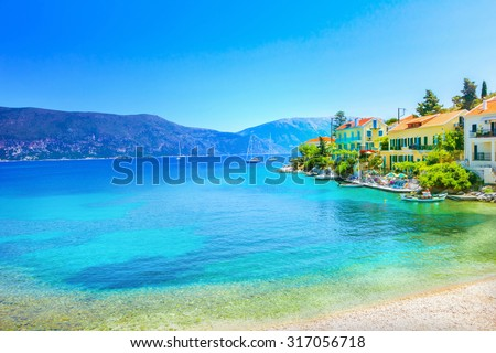 Fiskardo village, Kefalonia island, Greece - stock photo