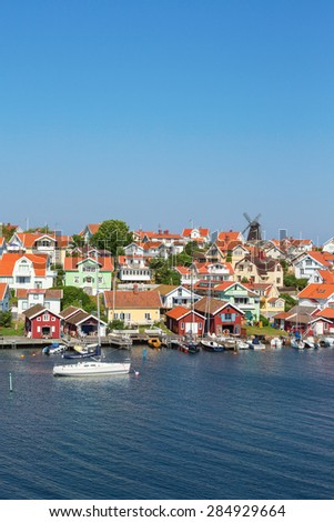 Fiskebackskil an old coastal settlement on the Swedish west coast - stock photo