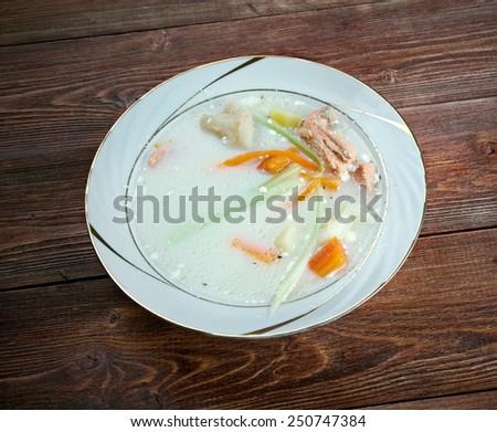 Fiskesuppe - Norwegian Cod and salmon Chowder - stock photo
