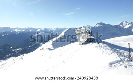 FISS, AUSTRIA - DECEMBER 2014 - the Crystal Cube mountain restaurant - stock photo