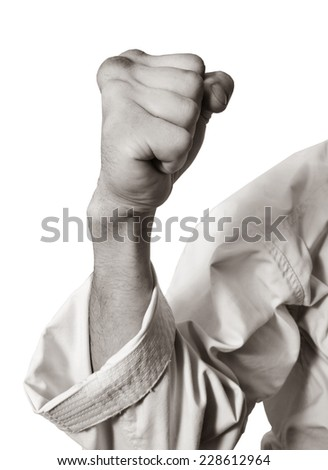 fist.blow.Hand karate master on a white background.Black-and-white image - stock photo