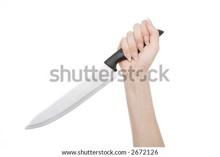 Fist clutching chef's knife on white