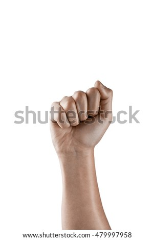 Fist gesture on a white background