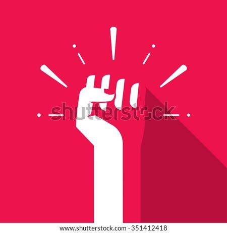 Fist hand up icon flat symbol, soviet, radical, patriotic freedom sticker, solidarity, uprising, propaganda, military, splashes, badge isolated on red, modern logo illustration design sign, tag image - stock photo
