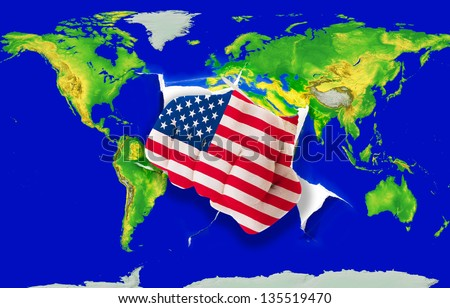 Fist in color national flag of us punching world map as symbol of export, economic growth, power and success - stock photo