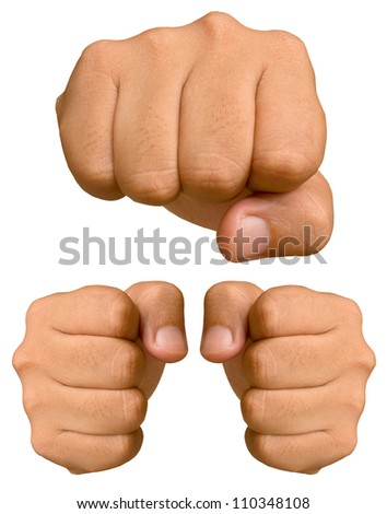 Fist isolated on a white background. - stock photo