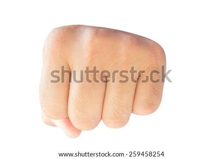 Fist isolated on white background - stock photo