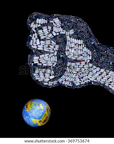 Fist made of plastic bottles crushing the planet - environmental disaster concept - stock photo