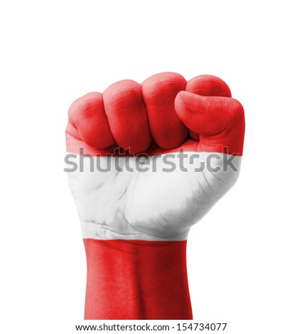 Fist of Austria flag painted, multi purpose concept - isolated on white background