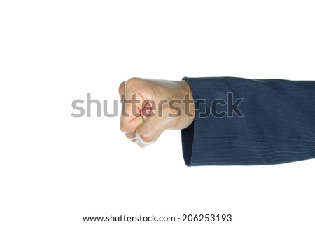 Fist of businessman is punching on white background. Concept about strong and violence and conflict.