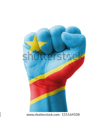 Fist of Democratic Republic of the Congo flag painted, multi purpose concept - isolated on white background - stock photo