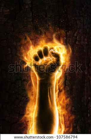 Fist of fire - stock photo