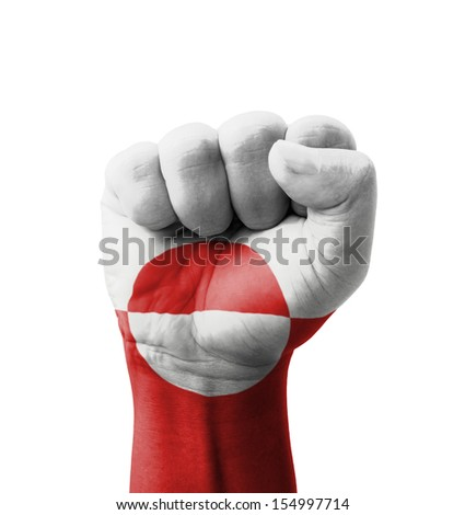 Fist of Greenland flag painted, multi purpose concept - isolated on white background