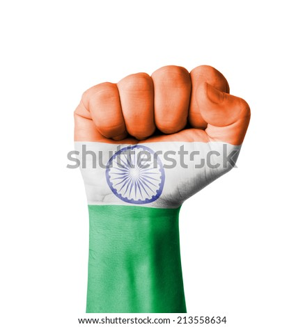 Fist of India flag painted - stock photo