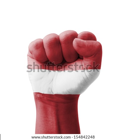 Fist of Latvia flag painted, multi purpose concept - isolated on white background
