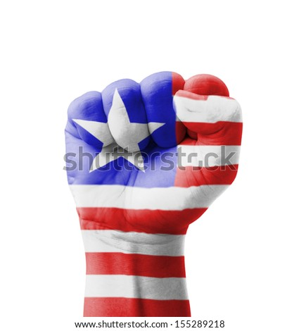 Fist of Liberia flag painted, multi purpose concept - isolated on white background