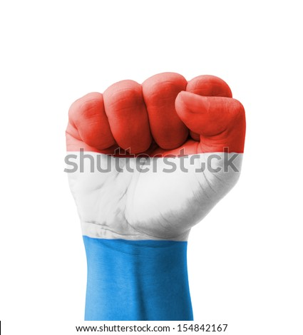 Fist of Luxembourg flag painted, multi purpose concept - isolated on white background