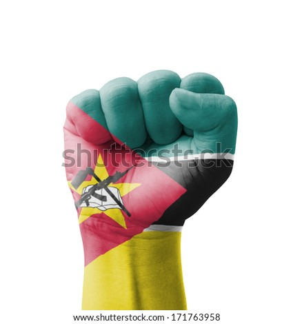 Fist of Mozambique flag painted, multi purpose concept - isolated on white background - stock photo