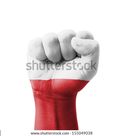 Fist of Poland flag painted, multi purpose concept - isolated on white background