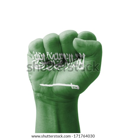 Fist of Saudi Arabia flag painted, multi purpose concept - isolated on white background - stock photo