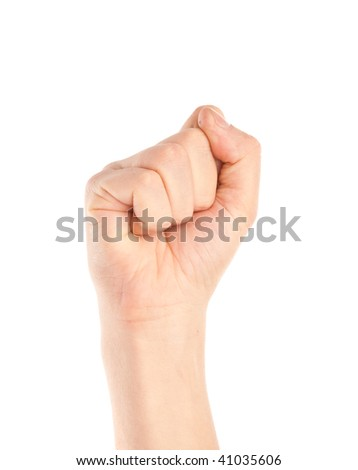 Fist of woman. Isolated on the white background