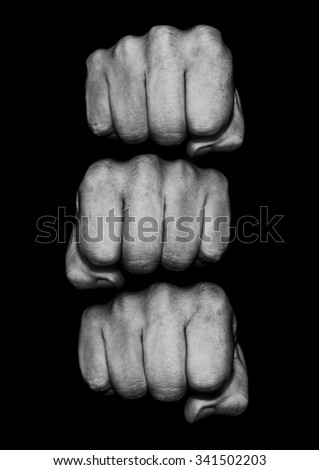 Fist pile / Photograph of grungy fists, just add text to knuckles