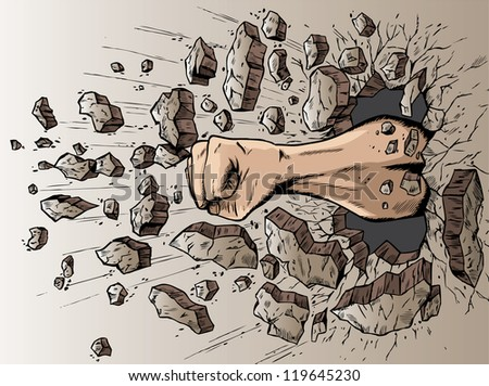 Fist through wall - stock photo