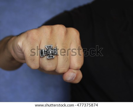 Fist with a ring - Stainless Steel - Men's jewelry