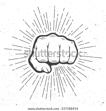 Fist with sunbursts in vintage style. Illustration - stock photo