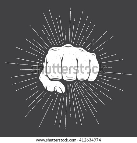 Fist with sunbursts in vintage style. Illustration  - stock photo