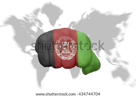fist with the national flag of afghanistan on a world map background - stock photo