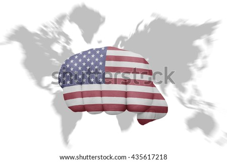 fist with the national flag of united states of america on a world map background - stock photo