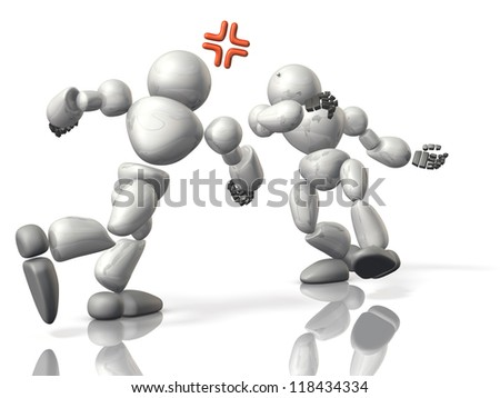 Fisticuffs between robots - stock photo