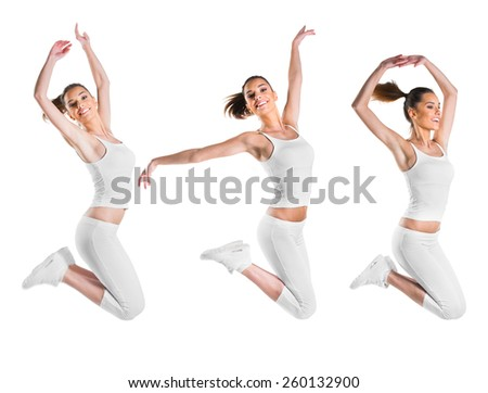 Fit, beautiful, young woman jumping, three poses - stock photo