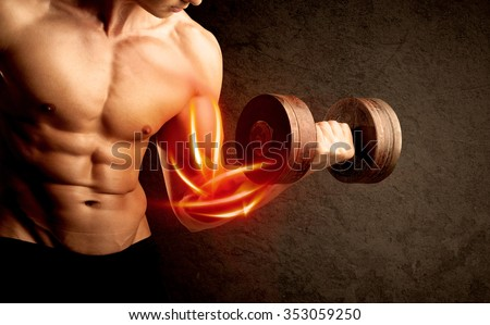 Fit bodybuilder lifting weight with red muscle concept on background - stock photo