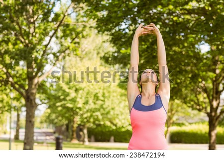 Fit brown hair stretching her arms in the park - stock photo