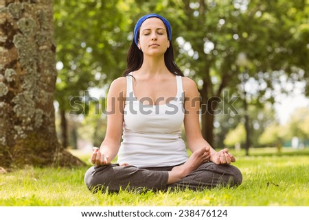 Fit brunette sitting in lotus pose on grass in the park - stock photo