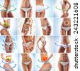 Fit female body isolated on white. Perfect people concept. Dieting, sport and healthy eating collage. - stock photo