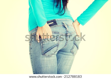 Fit female butt in jeans, isolated