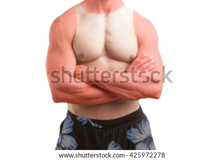 Fit man standing shirtless with his arms crossed with a sunburn, isolated - stock photo